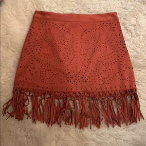 Faux Suede American Eagle Fringe skirt